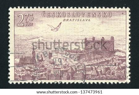 CZECHOSLOVAKIA - CIRCA 1955: stamp printed by Czechoslovakia, shows Bratislava, circa 1955