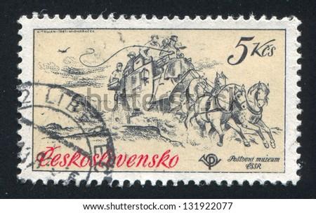 CZECHOSLOVAKIA - CIRCA 1981: stamp printed by Czechoslovakia, shows horse mail coach, 1860, circa 1981