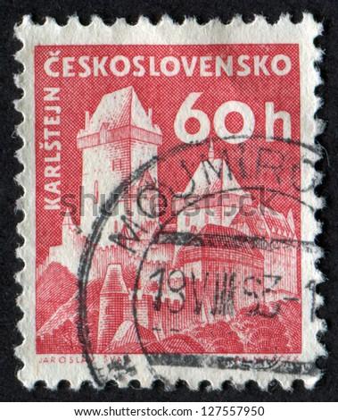 CZECHOSLOVAKIA - CIRCA 1960: stamp printed in Czech Republic shows Karlstein Castle. Castles. Scott Catalog 975 A382 60h rose red, circa 1960.