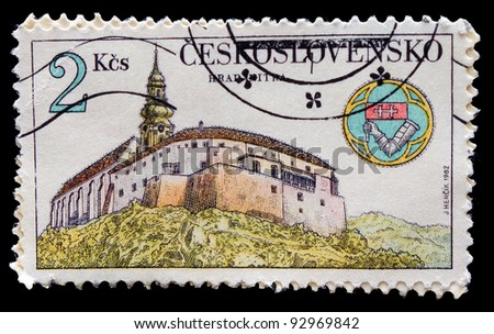 "CZECHOSLOVAKIA - CIRCA 1982: stamp printed in Czechoslovakia, artist Jean HERTSIK, picture is ""a temple on the shore"" circa 1982"