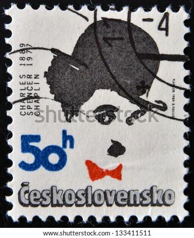 CZECHOSLOVAKIA - CIRCA 1989: Stamp printed in Czechoslovakia shows actor Charles Chaplin, circa 1989 - stock photo
