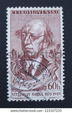 CZECHOSLOVAKIA - CIRCA 1957: Stamp printed in former Czechoslovakia commemorates Czech composer Vitezslav Novak, circa 1957.
