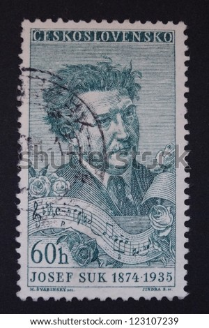 CZECHOSLOVAKIA - CIRCA 1957: Stamp printed in former Czechoslovakia commemorates Czech composer and violinist Josef Suk, circa 1957.