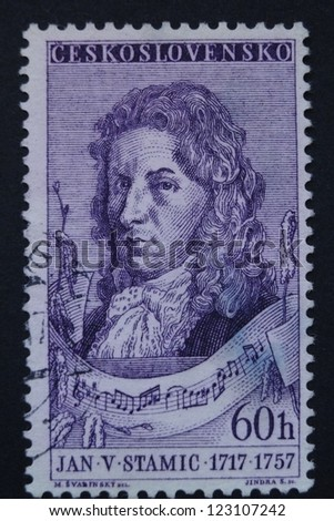CZECHOSLOVAKIA - CIRCA 1957: Stamp printed in former Czechoslovakia commemorates Czech composer and violinist Jan Vaclav Stamic (Stamitz), circa 1957.