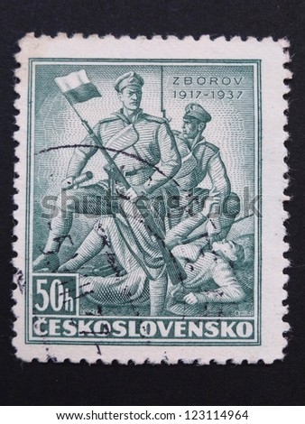 CZECHOSLOVAKIA - CIRCA 1937: Stamp printed in former Czechoslovakia commemorates 20th anniversary of Battle of Zborov, where Czech Legionaries fought, circa 1937.