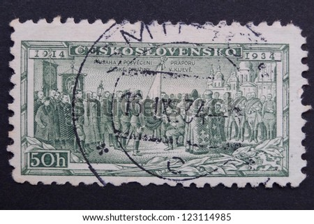CZECHOSLOVAKIA - CIRCA 1934: Stamp printed in former Czechoslovakia commemorates 20th anniversary of Czechoslovak Foreign Legions, Consecrating Colors at Kiev, circa 1934