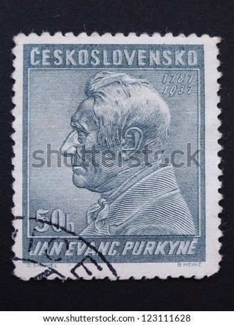 CZECHOSLOVAKIA - CIRCA 1937: Stamp printed in former Czechoslovakia commemorates 150th birth anniversary of Czech anatomist and physiologist J.E. Purkyne, circa 1937.