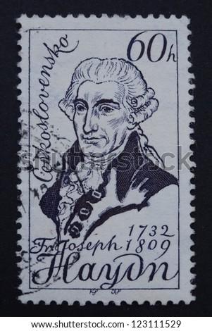 CZECHOSLOVAKIA - CIRCA 1959: Stamp printed in former Czechoslovakia shows an Austrian composer Joseph Haydn, circa 1959.