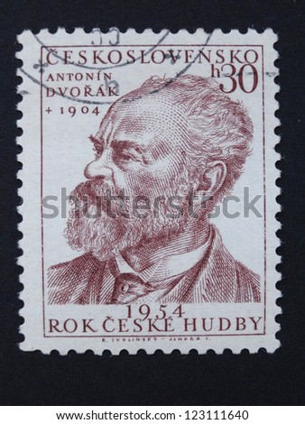 CZECHOSLOVAKIA - CIRCA 1954: Stamp printed in former Czechoslovakia shows Czech composer Antonin Dvorak, Czech Music Year 1954, circa 1954.