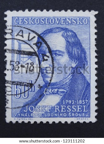 CZECHOSLOVAKIA - CIRCA 1957: Stamp printed in former Czechoslovakia shows Czech inventor of the first working ship's propellers Josef Ressel, circa 1957.