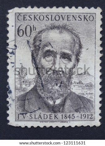CZECHOSLOVAKIA - CIRCA 1955: Stamp printed in former Czechoslovakia shows Czech writer, poet nad journalist J.V. Sladek, circa 1955.