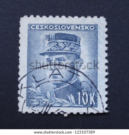 CZECHOSLOVAKIA - CIRCA 1945: Stamp printed in former Czechoslovakia shows general M.R. Stefanik, circa 1945.