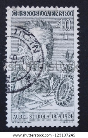 CZECHOSLOVAKIA - CIRCA 1959: Stamp printed in former Czechoslovakia shows Slovakian engineer, physicist and inventor Aurel Stodola, circa 1959.