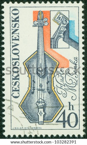 CZECHOSLOVAKIA - CIRCA 1974: The stamp printed in Czechoslovakia shows a violin, circa 1974