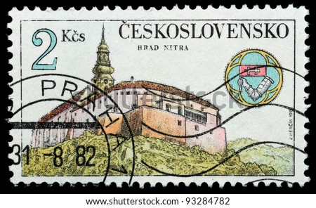 CZECHOSLOVAKIA - CIRCA 1982: The stamp printed in Czechoslovakia shows an ancient castle, circa 1982