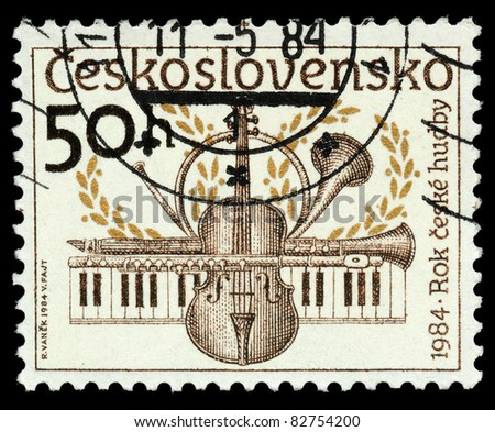 CZECHOSLOVAKIA - CIRCA 1984: The stamp printed in Czechoslovakia shows musical instruments, circa 1984