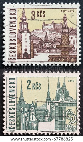 CZECHOSLOVAKIA - CIRCA 1965: two stamps printed in  Czechoslovakia shows images of Brno, the second largest city in Czech Republic,  and Bratislava, the capital of Slovakia. Czechoslovakia, circa 1965 - stock photo