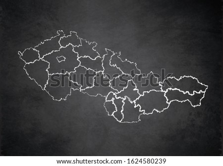 Czechoslovakia Republic map administrative division separates regions and names, design card blackboard chalkboard blank raster Foto d'archivio ©