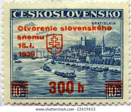 Czechoslovakia stamp reused by the German puppet-state called Slovak Republic after 18 January 1939 by overprinting the name of the country and the value
