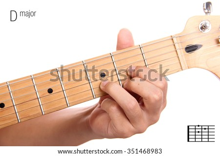 D - basic major keys guitar tutorial series. Closeup of hand playing D major chord on guitar, isolated on white background Photo stock ©
