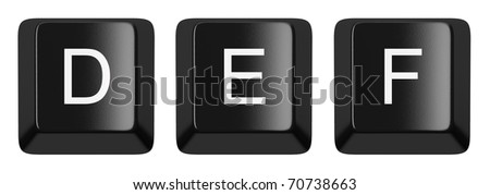 D, E, F black computer keys alphabet isolated on white