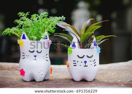 D.I.Y Plastic Bottle Craft for kids,Crafts with kids , Reuse a water bottle , selective focus , Thailand.