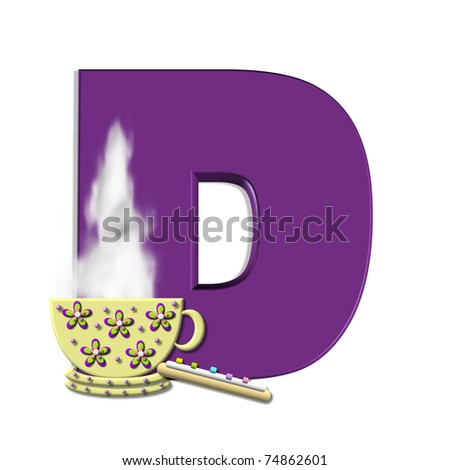 "D, in the alphabet set ""Cup of Joe"" , is decorated with a porcelain cup of coffee with steam rising from the rim.  Letters are purple."