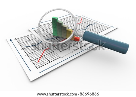 d magnifying glass hovers over progress bars on graph paper. - stock photo