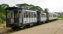 Da Lat Plateau rail road passenger cars at the railway station is in Da Lat, VIetnam from the Da Lat–Thap Cham Railway line in Vietnam, serving the town of Da Lat in Lâm Đồng Province.