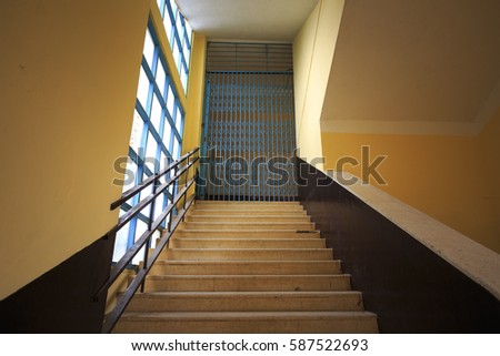 Da Lat town, Viet Nam - February 19th, 2017: Images aisles up stairs of a Pedagogical College in the town of Dalat. Unique architectural works built by the French in 1927 #587522693