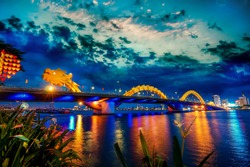 Da Nang, Vietnam: Dragon bridge at sunset which is considered as the icon of Da Nang city.