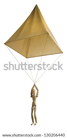 da vinci parachute of wood. isolated on white background