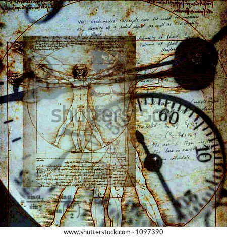 Da Vinci's Vitruvian Man in composite with an old clock A square image with a grunge feel.