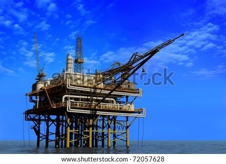 Dabycha oil into the sea from above. - stock photo