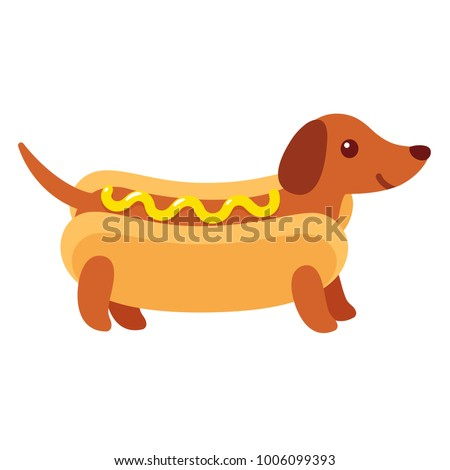 Dachshund puppy in hot dog bun with mustard, funny cartoon drawing. Cute Weiner dog illustration.