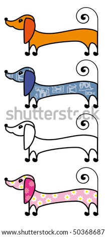 Dachshund with painting - stock photo