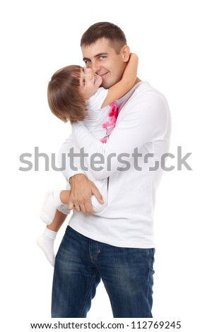 Dad kissing his little daughter, isolated on white