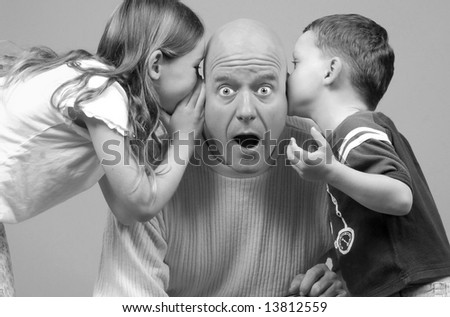 Dad looking surprised at news from kids