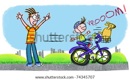 Dad Yelling at Reckless Boy on Bike-- Naive child-like art style