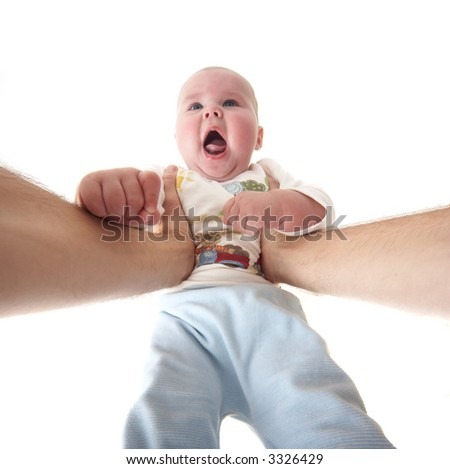 daddy plays with son isolated on white background
