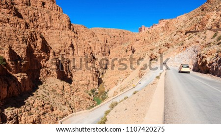 Dades Gorge is a gorge of Dades River in Atlas Mountains in Morocco. Dades Gorge depth is from 200 to 500 meters. #1107420275