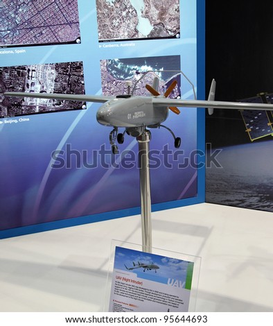 DAEJEON, KOREA - OCT 13: A mockup of Korean Night Intruder 300 UAV is on display during IAC 2009 Daejeon Space Exhibition at the KOTRA Exhibition Center on Oct. 13, 2009, in Daejeon, Republic of Korea.