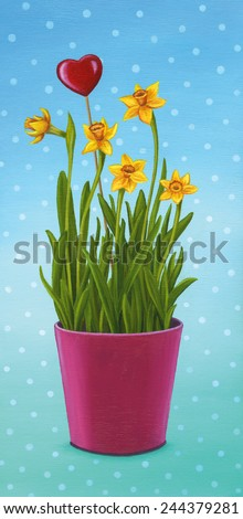 Daffodils flower pot with red heart and dotted background. Oil Painting.