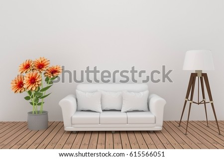 dahlia flower decoration with sofa and lamp in white room interior in 3D rendering #615566051