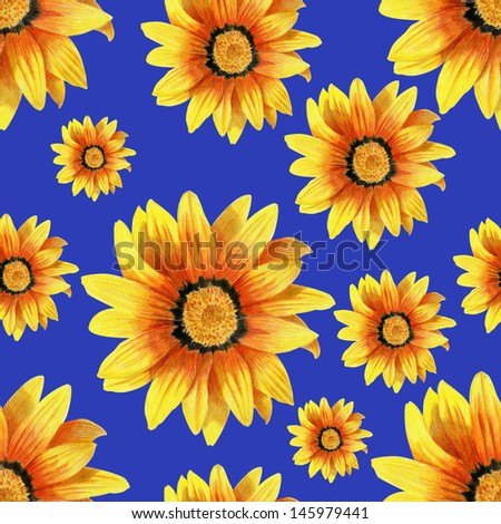 Dahlia flower seamless pattern on blue background