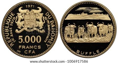 dahomey  now benin  golden coin ...