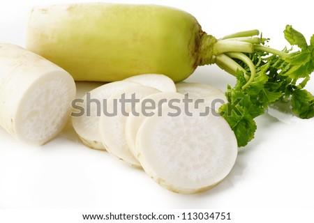 daikon radish piece on white