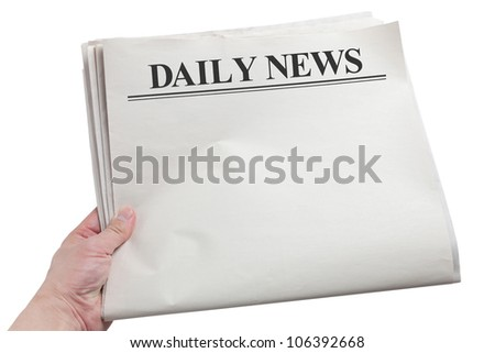 Daily News, Blank Newspaper with white background