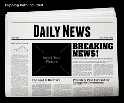 Daily Newspaper Isolated with Clipping Path.