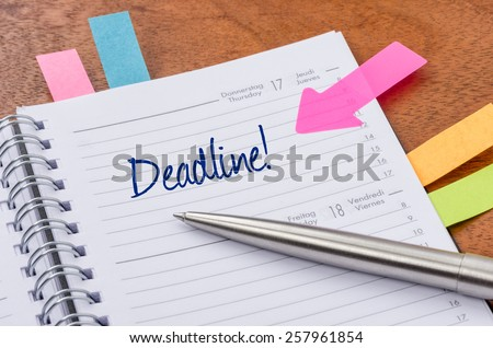 Daily planner with the entry Deadline